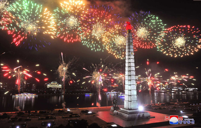 This picture taken on July 27, 2020 and released from North Korea's official Korean Central News Agency (KCNA) on July 28 shows fireworks launched in Pyongyang to celebrate the 67th anniversary of the Korean War ceasefire. North Korean leader Kim Jong Un said there will be no more war in the country as its nuclear weapons guarantee its safety, signalling once again Pyongyang won't give up its nukes, state media said on July 28, 2020. (Photo by KCNA via KNS/AFP Photo)