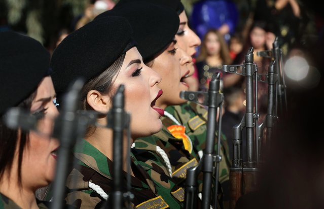 Iraqi Kurdish Peshmerga take part in a graduation ceremony at the Zakho military academy in the Iraqi Kurdish town of Zakho, some 500 kilometres north of Baghdad, on January 30, 2018. (Photo by Safin Hamed/AFP Photo)
