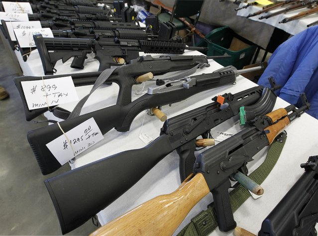 A large variety of weapons were for sale at the Washington County Fairgrounds Gun Show that drew thousands of people over the weekend, on March 22, 2013. (Photo by Gary Porter)