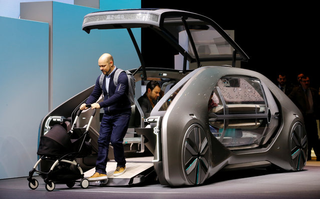 Renault EZ-GO is presented during the press day at the 88th Geneva International Motor Show in Geneva, Switzerland on Tuesday, March 6, 2018. (Photo by Denis Balibouse/Reuters)