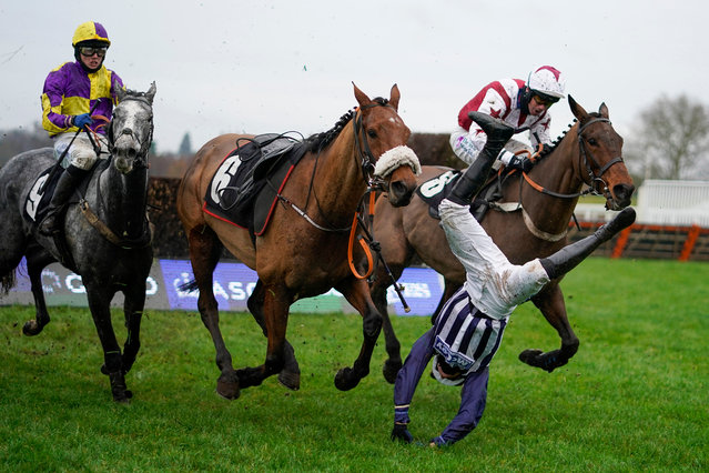Jockey Fergus Gregory is unseated from Deauville Dancer during The Coral Handicap Chase a at Ascot Racecourse in England on November 20, 2020. (Photo by Alan Crowhurst/PA Images via Getty Images)