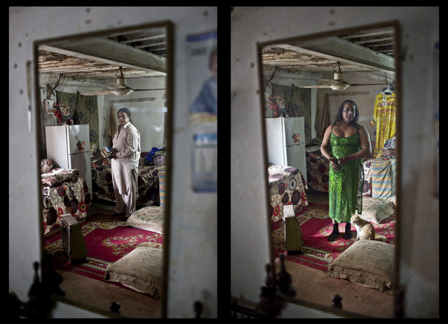 "This combination of two images taken between Thursday, Jan. 8, 2015 and Monday, January 12, 2015, shows Pakistani Amjad Mahmoud, 44, reflected in a mirror while posing for a picture at his place, in Rawalpindi, Pakistan. Mahmoud, proudly identifies as transgendered. ""The only thing I can't do as a woman is conceive babies"", Amjad says. (Photo by Muhammed Muheisen/AP Photo)"