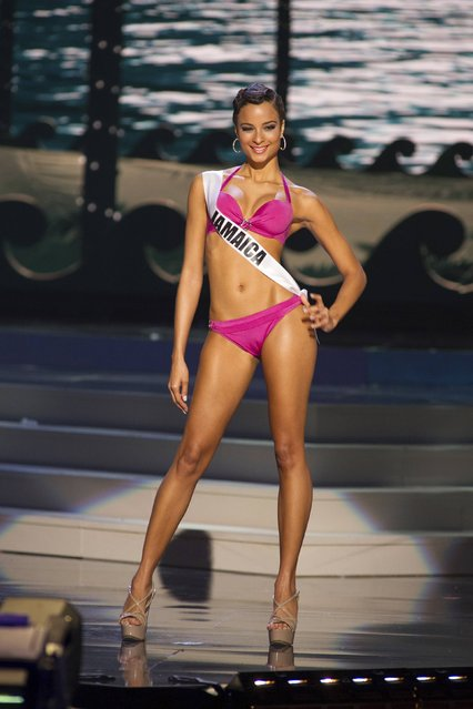 Kaci Fennell, Miss Jamaica 2014, competes in the swimwear competition during the Miss Universe Preliminary Show in Miami, Florida in this January 21, 2015 handout photo. (Photo by Reuters/Miss Universe Organization)