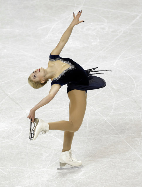 Gracie Gold performs during the women's short program at the U.S. Figure Skating Championships in Greensboro, N.C., Thursday, January 22, 2015. (Photo by Chuck Burton/AP Photo)