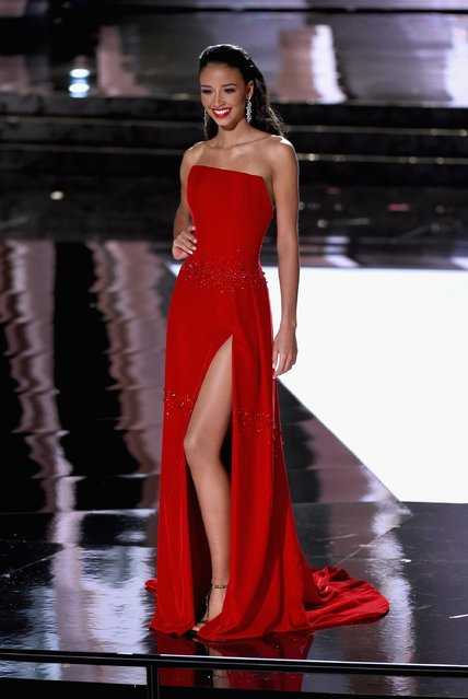 Miss France 2015, Flora Coquerel, competes in the evening gown competition during the 2015 Miss Universe Pageant at The Axis at Planet Hollywood Resort & Casino on December 20, 2015 in Las Vegas, Nevada. (Photo by Ethan Miller/Getty Images)