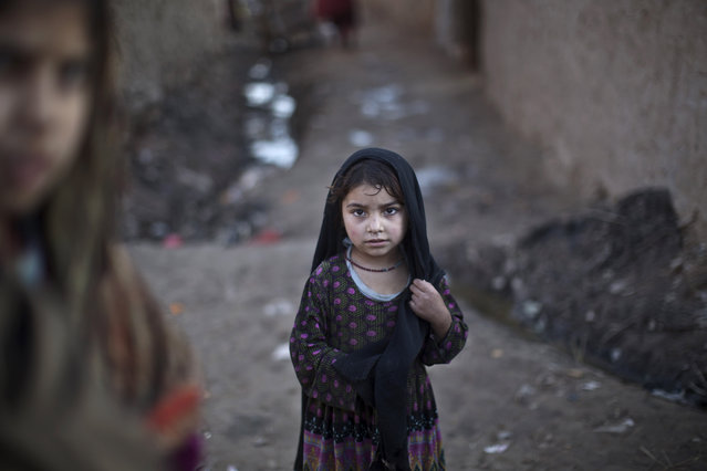 An Afghan refugee child stands in an alley of a slum on the outskirts of Islamabad, Pakistan, Friday, January 16, 2015. (Photo by Muhammed Muheisen/AP Photo)