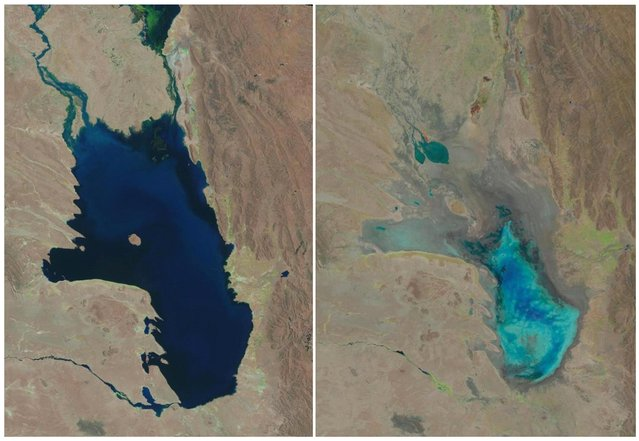 This photo combo of satellite images provided by the USGS shows Lake Poopo filled with water on October 11, 1986, left, and almost dry on January 16, 2016, right,  in Bolivia. As Andean glaciers disappear so do the sources of Poopo's water. Along with glacial melting, authorities say another factor is the diversion of water from Poopo's tributaries, mostly for mining but also for agriculture. (Photo by USGS via AP Photo)