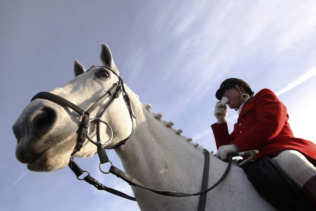 A member of the New Forest Hunt has a drink before the ride from Boltons Bench for the annual Boxing Day hunt in Lyndhurst, southern England December 26, 2016. (Photo by Luke MacGregor/Reuters)