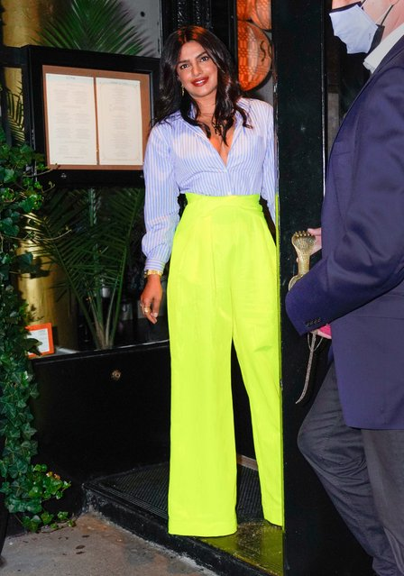 Indian actress Priyanka Chopra arrives at the opening of her new Indian restaurant Sona in New York on June 25, 2021. The 38 year old actress and singer stood proudly at the door wearing a light blue blouse paired yellow day-glo high waisted trousers. (Photo by The Image Direct)
