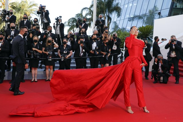 """Spanish influencer Marta Lozano arrives for the screening of the film """"A Felesegem Tortenete"""" (The Story Of My Wife) at the 74th edition of the Cannes Film Festival in Cannes, southern France, on July 14, 2021. (Photo by Johanna Geron/Reuters)"""