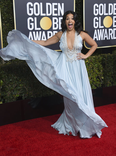 Gina Rodriguez arrives at the 76th annual Golden Globe Awards at the Beverly Hilton Hotel on Sunday, January 6, 2019, in Beverly Hills, Calif. (Photo by Jordan Strauss/Invision/AP Photo)