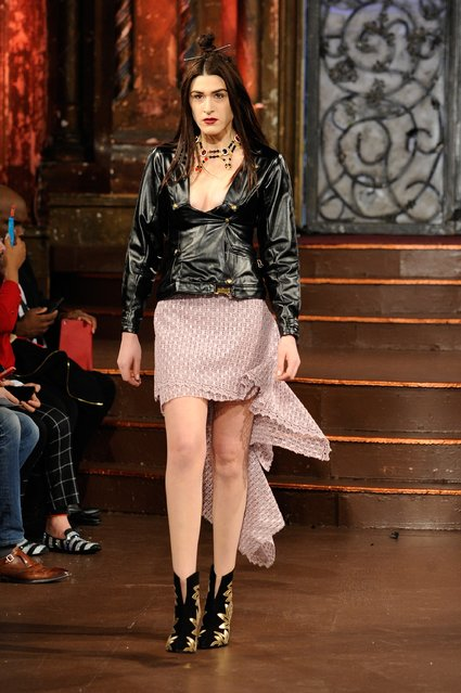A model walks the runway at Stello Official – Art Hearts Fashion NYFW Fall/Winter 2016 at The Angel Orensanz Foundation on February 16, 2016 in New York City. (Photo by Arun Nevader/Getty Images For Art Hearts Fashion)