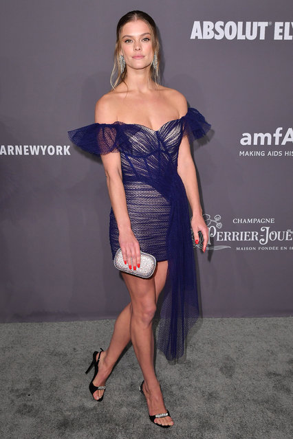 Danish model Nina Agdal arrives at The amfAR Gala New York, the Foundations 21st annual benefit for AIDS research during New York Fashion Week at Cipriani Wall Street on February 6, 2019 in New York. (Photo by Angela Weiss/AFP Photo)