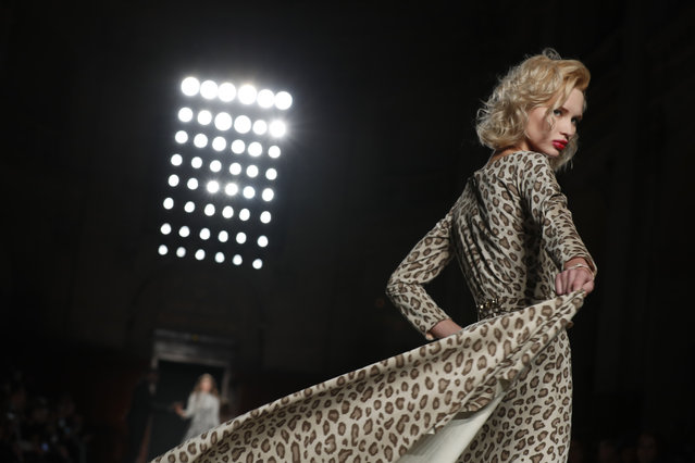 A model wears a creation for the Julien Fournie Spring/Summer 2019 Haute Couture fashion collection presented in Paris, Tuesday January 22, 2019. (Photo by Thibault Camus/AP Photo)