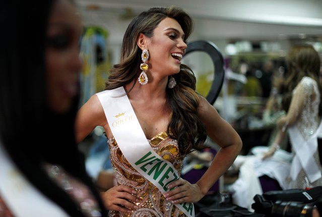 Sofia Colmenarez of Venezuela prepares backstage during the final show of the Miss International Queen 2019 transgender beauty pageant in Pattaya, Thailand on March 8, 2019. (Photo by Jorge Silva/Reuters)