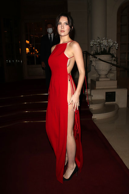 Singer Liam Payne's girlfriend, model Maya Henry, 21, posed in a slashed red gown as she attended an event at The Ritz in the French capital on October 4, 2021. (Photo by Beretta/Sims/Rex Features/Shutterstock)