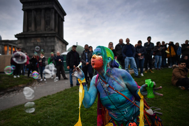 Beltane Fire Society performers celebrate the coming of summer by participating in the Beltane Fire Festival on Calton Hill April 30, 2019 in Edinburgh, Scotland. (Photo by Jeff J. Mitchell/Getty Images)