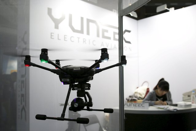 A Yuneec's Typhoon Q500 4K drone is seen during the Spring Computer show in Taipei, Taiwan April 15, 2016. (Photo by Tyrone Siu/Reuters)