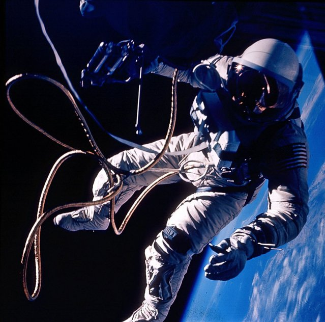 The First U.S. Spacewalk – Gemini 4 Ed White made the United States' first spacewalk on June 3, 1965 during the Gemini 4 mission. The extra-vehicular activity (EVA) started at 19:45 UT (3:45 p.m. EDT) on the third orbit when White opened his hatch and used the hand-held manuevering oxygen-jet gun to push himself out of the capsule. (Photo by NASA)
