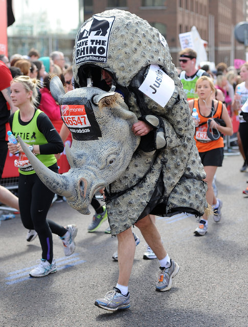 A runner in fancy dress participates in the Virgin London Marathon 2013 on April 21, 2013 in London, England. (Photo by Tom Dulat/Getty Images)