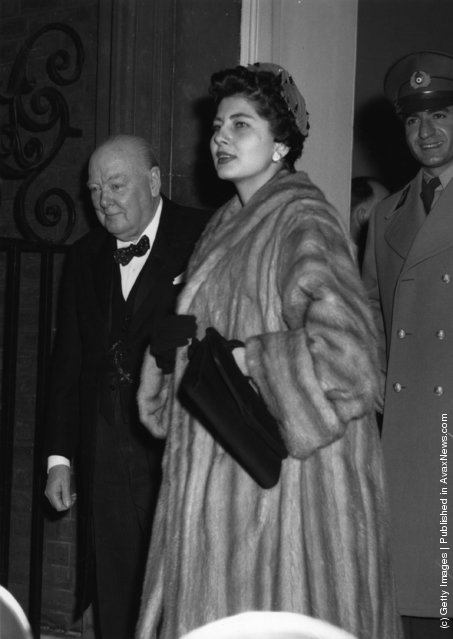 1954:  The Shah of Iran and his wife Queen Soraya Esfandiari Bakhtiari with Sir Winston Churchill leaving No 10 Downing Street
