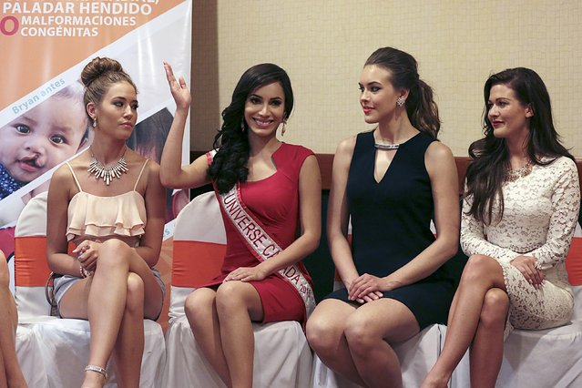 Miss Universe Canada 2015 Paola Nunez Valdez (C) waves next to other finalists in the competition Michelle McKay, Lauren Heinsar and Kathryn Kohut (L-R) during a news conference in Managua, Nicaragua July 6, 2015. (Photo by Oswaldo Rivas/Reuters)