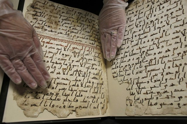 A fragment of a Koran manuscript is seen in the library at the University of Birmingham in Britain July 22, 2015. (Photo by Peter Nicholls/Reuters)
