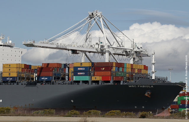 The container ship MSC Fabiola is seen docked at the Port of Oakland on March 22, 2012, in Oakland, California