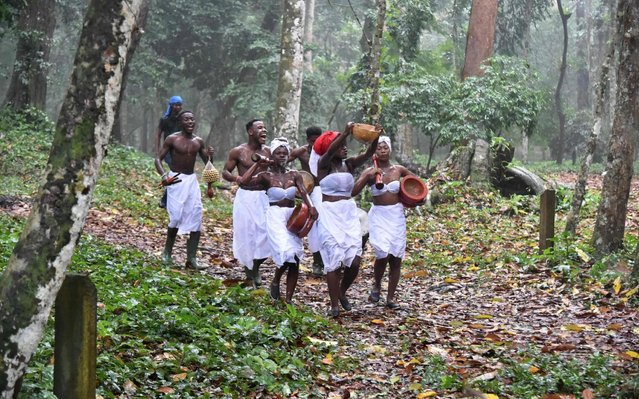 A group of female priests perform in Banco National Park on December 08, 2019 in Abidjan during the opening of the first Green Arts Biennale. Ephemeral sculptures by international artists in the middle of the tropical forest is the challenge of the first Green Arts biennial that took place in the Banco National Park in Abidjan The Banco National Park extends over nearly 3,500 hectares in the heart of Abidjan, just a few kilometres from the Plateau business district between the two main working class districts of Abobo and Yopougon. (Photo by Sia Kambou/AFP Photo)