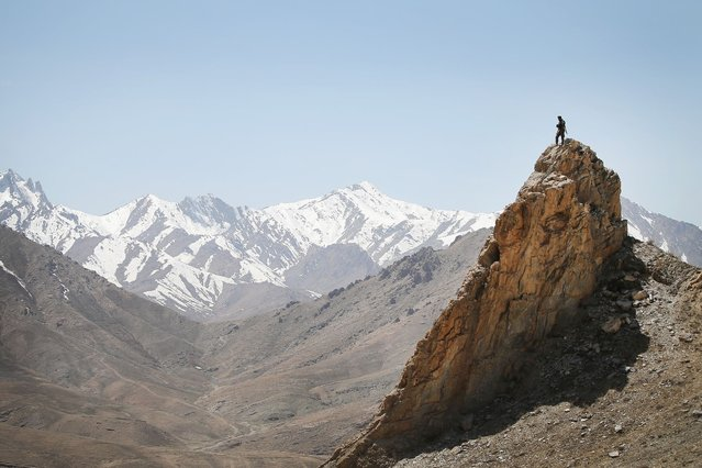 An Afghan National Army (ANA) soldier looks out from a rocky overlook as soldiers with the U.S. Army's 2nd Battalion 87th Infantry Regiment, 3rd Brigade Combat Team, 10th Mountain Division patrol below on March 31, 2014 near Pul-e Alam, Afghanistan. (Photo by Scott Olson/Getty Images)