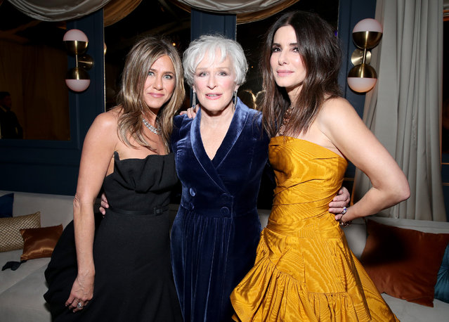 (L-R) Jennifer Aniston, Glenn Close and Sandra Bullock attend the Netflix 2020 Golden Globes After Party at The Beverly Hilton Hotel on January 05, 2020 in Beverly Hills, California. (Photo by Rich Fury/Getty Images)