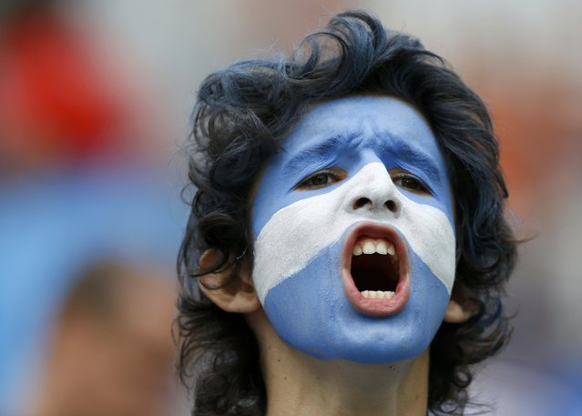 A fan of Argentina shouts before their 2014 World Cup semi-finals against the Netherlands at the Corinthians arena in Sao Paulo July 9, 2014. (Photo by Darren Staples/Reuters)