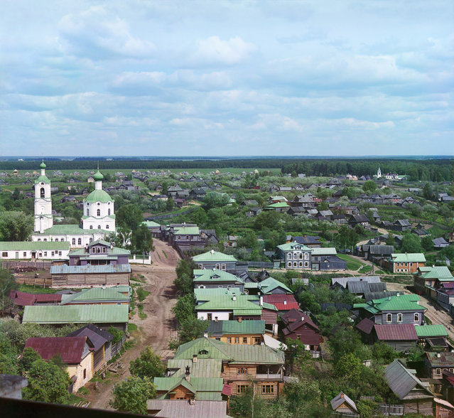 Photos by Sergey Prokudin-Gorsky. City of Rzhev. Prince Fedor's side (of the city) with the Holy Protectoress Mother of God Church. Russia, the Tver province, Rzhev, 1910