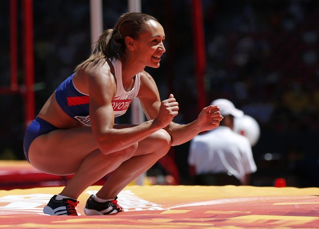 Jessica Ennis-Hill of Britain reacts after a successful attempt as she competes in the high jump event of the women's heptathlon during the 15th IAAF World Championships at the National Stadium in Beijing, China, August 22, 2015. (Photo by Phil Noble/Reuters)