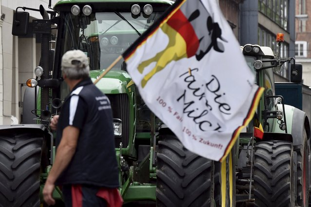 Farmers and dairy farmers from all over Europe take part in a demonstration outside a European Union farm ministers' emergency meeting at the EU Council headquarters in Brussels, Belgium September 7, 2015. (Photo by Eric Vidal/Reuters)