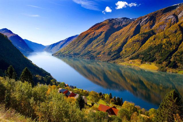 Fjaerlandfjord off Sognefjord, Sogn og Fjordane, Norway. (Photo by Brian Lawrence/Getty Images)