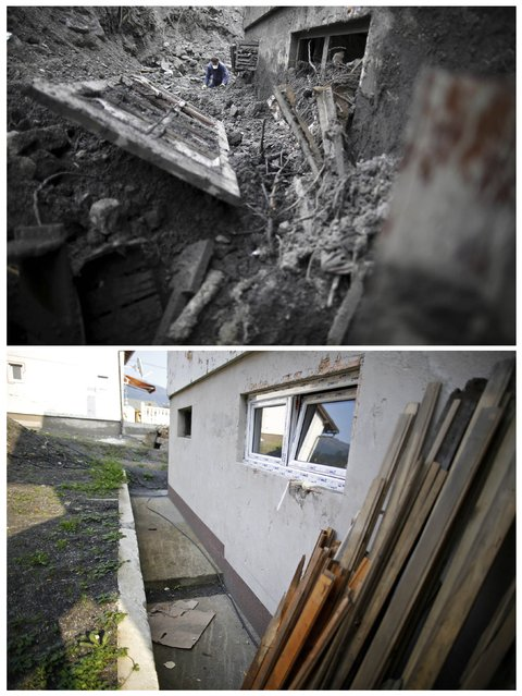 A combination photo shows Kovacevic family house during floods May 31, 2014 (top) and the same place after floods October 8, 2014 in Topcic Polje. (Photo by Dado Ruvic/Reuters)