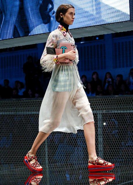 A model presents a creation at the Prada fashion show during Milan Fashion Week Spring/Summer 2017 in Milan, Italy, September 22, 2016. (Photo by Alessandro Garofalo/Reuters)