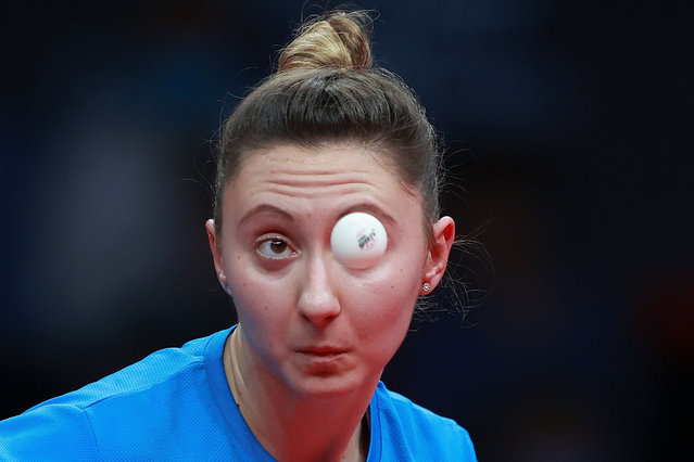 Sofia Polcanova of Austria competes against Wang Yidi of China in the Women's Singles – Round of 16 during day one of 2020 ITTF Finals at Zhengzhou Olympic Sports Center on November 19, 2020 in Zhengzhou, China. (Photo by Lintao Zhang/Getty Images)