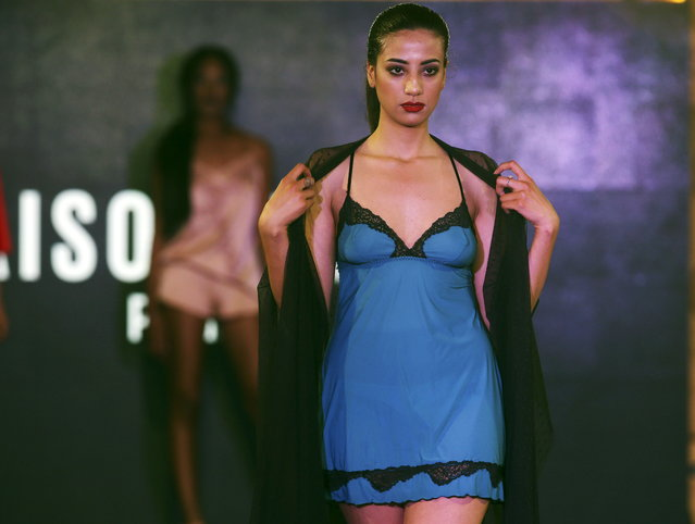 A model presents a creation from fashion label Maison Lejaby during the Festival of Young Fashion Designers, an event held in tribute to Azzedine Alaia, a Franco-Tunisian fashion designer who died in November 2017; in Tunis, Tunisia, 04 May 2018. (Photo by Mohamed Messara/EPA/EFE)