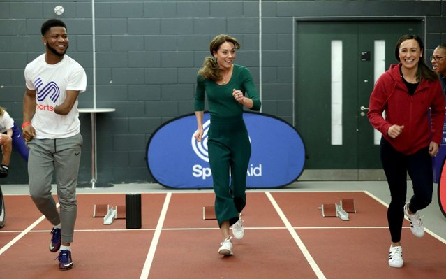 Catherine, Duchess of Cambridge (C) with heptathlete Jessica Ennis-Hill (R) during a SportsAid Stars event at the London Stadium in Stratford on February 26, 2020 in London, England. (Photo by Yui Mok – WPA Pool/Getty Images)