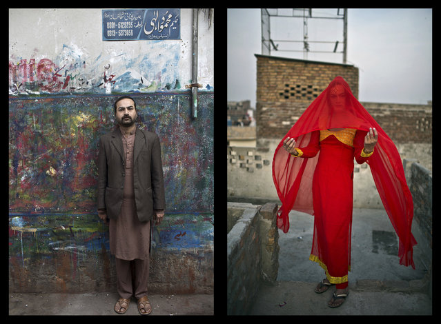 This combination of two images taken between Friday, January 9, 2015 and Saturday, Jan. 10, 2015, shows Pakistani Waseem Akram, 27, posing for a picture in Rawalpindi, Pakistan. By day, Akram sells mobile phone accessories from an alleyway shop in an old neighborhood of this Pakistani city. But by night, Akram stands before a mirror, shaving away his beard and picking through mascara and rouge to become Rani, a female wedding party dancer. (Photo by Muhammed Muheisen/AP Photo)