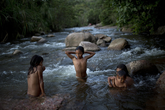 In this November 19, 2015 photo, an Ashaninka indigenous mother and her children bathe in the Pichiquia River, in Peru's Junin region. The rivers, most of them contaminated according to government authorities, are the only source of water for the Ashaninka. (Photo by Rodrigo Abd/AP Photo)