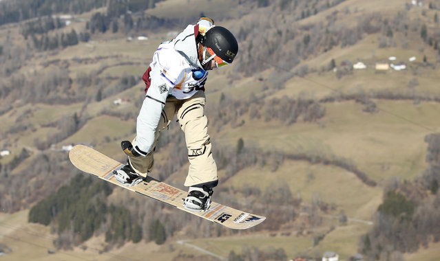 Ryan Stassel from the U.S. competes to win the men's snowboard slopestyle event at the Freestyle Ski and Snowboard World Championships in Kreischberg, Austria, Wednesday, January 21, 2015. (Photo by Darko Bandic/AP Photo)