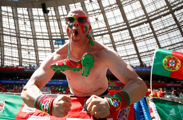 Portugal fan inside the stadium before the Russia 2018 World Cup Group B football match between Morocco and Portugal at the Luzhniki Stadium, Moscow, Russia on June 20, 2018. (Photo by Axel Schmidt/Reuters)