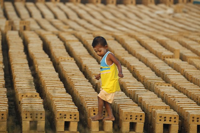 A boy walks on bricks at a brick kiln on the outskirts of Yangon February 1, 2015. (Photo by Soe Zeya Tun/Reuters)
