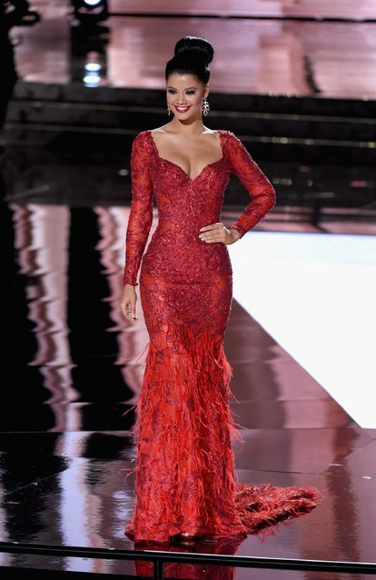 Miss Curacao 2015, Kanisha Sluis, competes in the evening gown competition during the 2015 Miss Universe Pageant at The Axis at Planet Hollywood Resort & Casino on December 20, 2015 in Las Vegas, Nevada. (Photo by Ethan Miller/Getty Images)