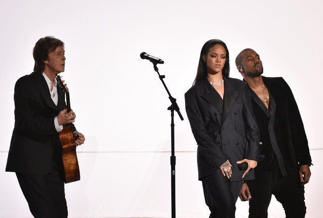Paul McCartney, from left, Rihanna, and Kanye West perform at the 57th annual Grammy Awards on Sunday, February 8, 2015, in Los Angeles. (Photo by John Shearer/Invision/AP Photo)