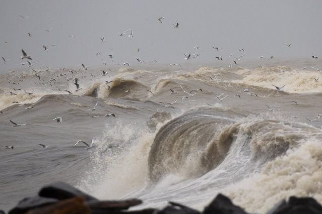 Seagulls fly over the rough sea as windy and stormy weather has been battering Italy, in Fiumicino, near Rome, Tuesday, January 5, 2021. (Photo by Alessandra Tarantino/AP Photo)