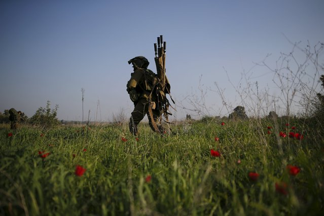 An Israeli soldier walks in a field during military activity across from the Israeli-Gaza border in southern Israel January 13, 2016. (Photo by Amir Cohen/Reuters)